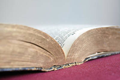 On Paper Photograph - Close-up Of Old Books by Winslow Productions
