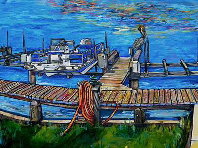 Laguna Beach Painting - Close Up Of Pier And Boat And Pelican by Patti Schermerhorn