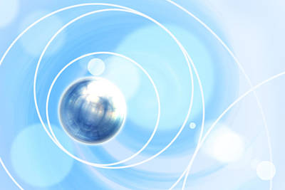 Abstract Composite Digital Art - Close Up Of Planet Over Blue Background by Imagewerks