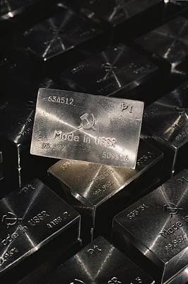 Platinum Photograph - Close-up Of Platium Ingots Bearing by Cotton Coulson