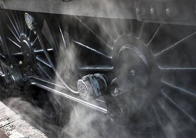 Close-up Of Steam Engine Train Wheels Art Print by John Short