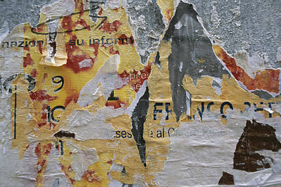 Close-up Of Torn Posters On A Wall Print by Todd Gipstein