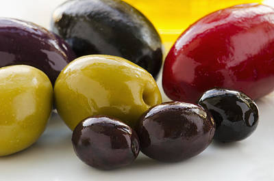 Black Olives Photograph - Close-up Of Various Olives, Studio Shot by Tetra Images