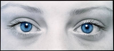 Close-up Of Woman's Face Showing Her Two Blue Eyes Art Print by Damien Lovegrove