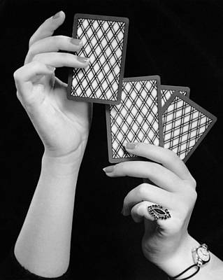 Close-up Of Woman's Hands W/playing Cards Art Print by George Marks