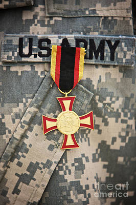 Close-up View Of A German Gold Cross Art Print by Terry Moore