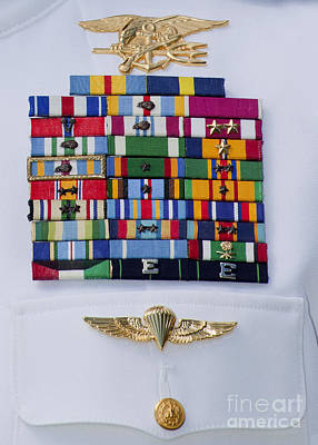 Close-up View Of Military Decorations Art Print by Michael Wood
