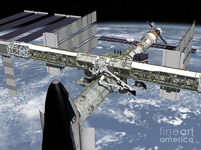 Digital Art - Close Up View Of The Shuttle Docked by Stocktrek Images