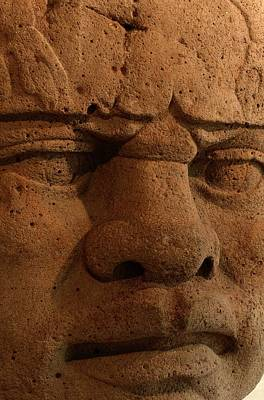 Close View Of A Colossal Stone Head Art Print