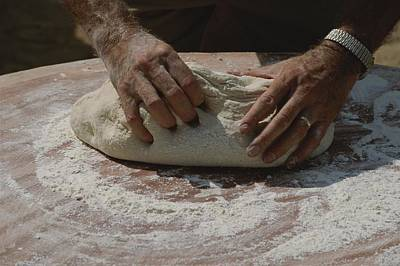 Close View Of Hands Kneading Bread Art Print