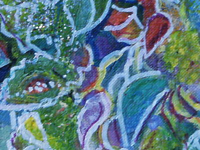 Close View Of One Of My Floral Paintings Art Print by Anne-Elizabeth Whiteway