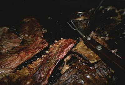 Close View Of Ribs Barbecuing Art Print