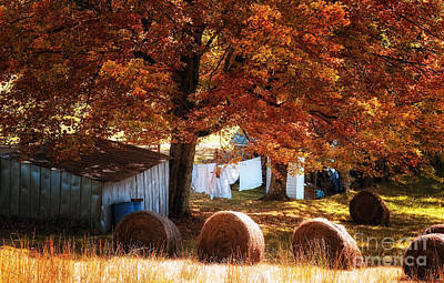 Fall Photograph - Clothesline And Hay Bales - Color by Kathleen K Parker