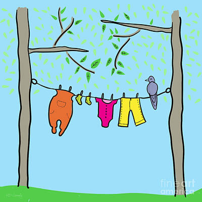 Blue Doodle Drawing - Clothesline  by HD Connelly