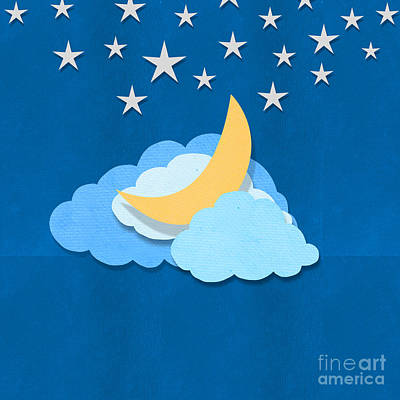 Invitation Card Mixed Media - Cloud Moon And Stars Design by Setsiri Silapasuwanchai