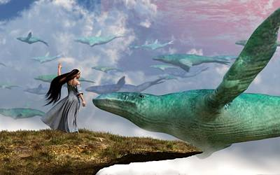 Surrealism Digital Art Rights Managed Images - Cloud Whales Royalty-Free Image by Daniel Eskridge