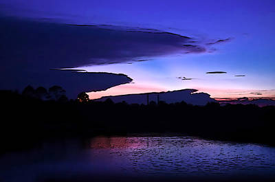 Art Print featuring the photograph Clouded Sunset Over The Tomoka by DigiArt Diaries by Vicky B Fuller