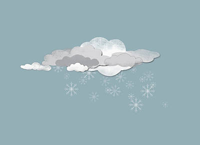 Cold Temperature Digital Art - Clouds And Snowflakes by Jutta Kuss