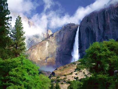 Impressionistic Digital Painting - Clouds Like Mist At Falls Yosemite National Park by Elaine Plesser