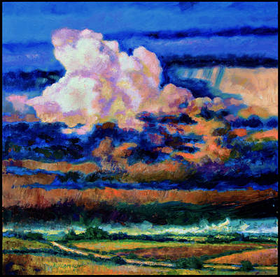 Storm Clouds Painting - Clouds Over Country Road by John Lautermilch