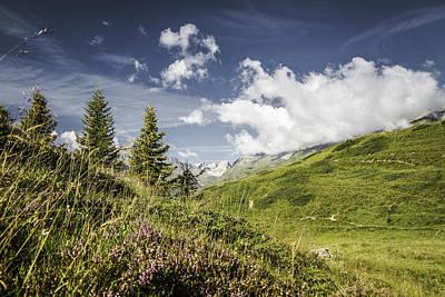 Graubunden Photograph - Clouds Over Grassy Rural Hillsides by Manuel Sulzer