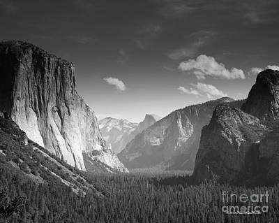 Photograph - Clouds Over Yosemite Valley Black And White by Nature Scapes Fine Art