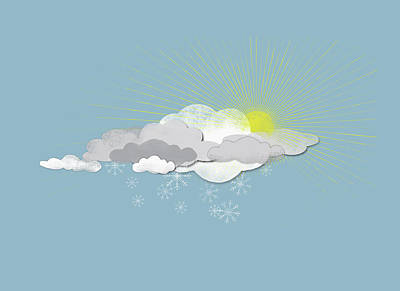 Cold Temperature Digital Art - Clouds, Sun And Snowflakes by Jutta Kuss