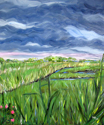 Painting - Cloudy Marsh by Clara Sue Beym