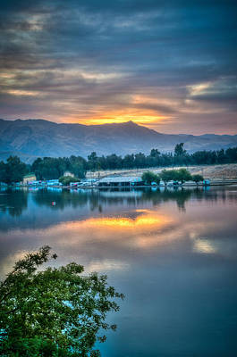 Photograph - Cloudy Sunrise On Lake by Connie Cooper-Edwards