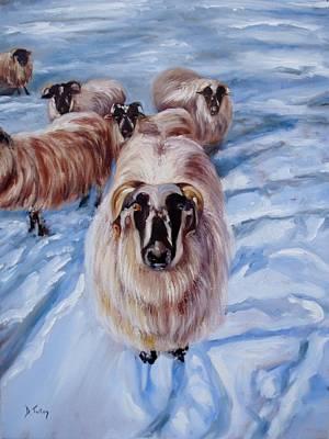 Scottish Blackface Sheep Painting - Clover At Seasons First Snowfall by Donna Tuten