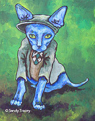 Sphynx Cat Painting - Clover by Sandy Tracey