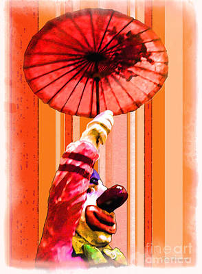 Photograph - Clown And Umbrella by Joan  Minchak