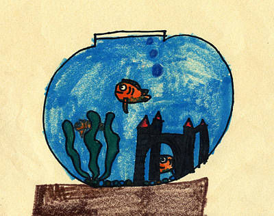 Clown Fish Drawing - Clown Fish In A Bowl by Bella