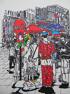 Montreal Streets Drawing - Clown by Marwan George Khoury