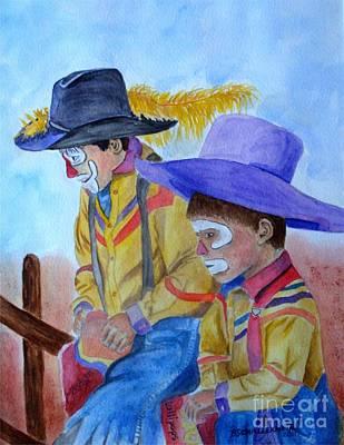 Rodeo Clown Painting - Clowning Around by Bonnie Schallermeir