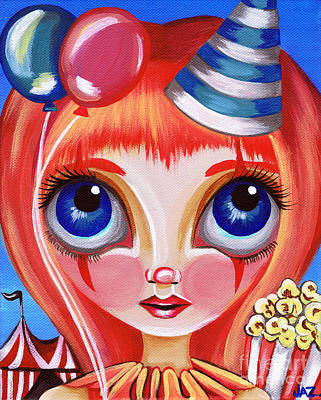 Pop Surrealism Painting - Clowning Around by Jaz Higgins