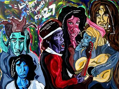 Jimmy Hendrix Painting - Club27 - Live Fast Die Young by Jason JaFleu Fleurant