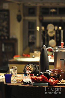 Mess Photograph - Cluttered Kitchen Table by Eddy Joaquim