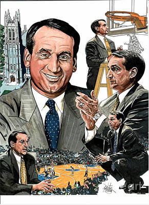 Ncaa Coaches Drawing - Coach K by Neal Portnoy