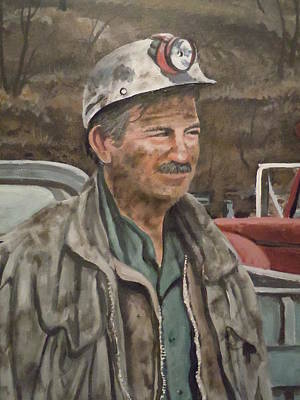 Art Print featuring the painting Coal Miner At Isabella Mine by James Guentner