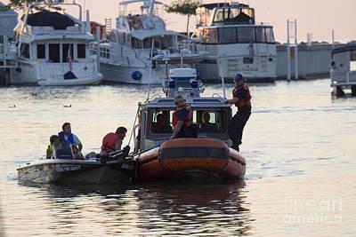 Coast Guard Patrol Directing Boat Traffic In Harbor Art Print