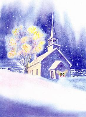 Coastal Church Christmas Print by Joseph Gallant