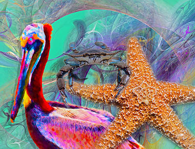 Abstract Wildlife Digital Art - Coastal Life II by Betsy Knapp