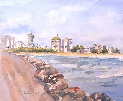 Painting - Coastline Just East Of Downtown Long Beach by Debbie Lewis