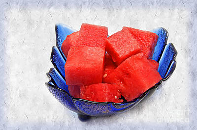 Snack Mixed Media - Cobalt Blue Watermelon Boat by Andee Design