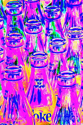 Blue Photograph - Coca-cola Coke Bottles - Return For Refund - Painterly - Violet by Wingsdomain Art and Photography