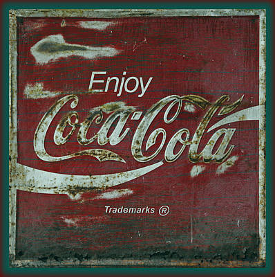 Old Coke Sign Wall Art - Photograph - Coca Cola Green Red Grunge Sign by John Stephens
