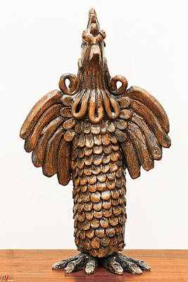 Sculpture - Cock Totem Bronze Gold Color Wings Beak Hair Eyes Scales Feathers by Rachel Hershkovitz