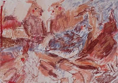 Cockatiels In Lipstick Art Print by Iris Gill