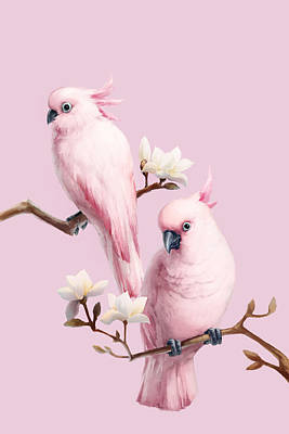 Cockatoo Digital Art - Cockatoos And Magnolia by BJI/Blue Jean Images